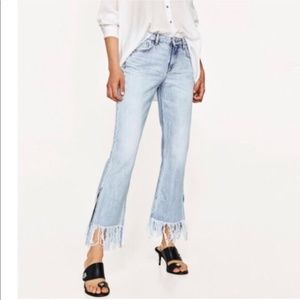 ZARA Basic Denim Flare Fringe Jeans 8
